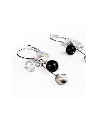 WOW ladies fashion sterling silver and crystal glass earrings