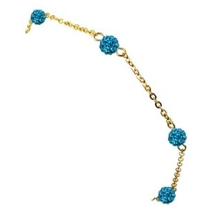 HerSpirit ladies gold coated bracelet with sapphire colored ferido balls