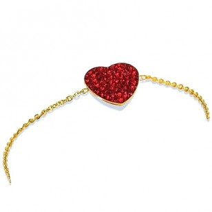HerSpirit ladies gold coated bracelet with red colored ferido heart