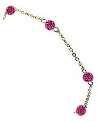 HerSpirit ladies gold coated bracelet with fuchsia colored ferido balls