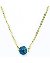 HerSpirit ladies gold coated necklace with sapphire blue colored ferido ball