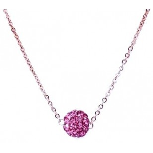 HerSpirit ladies rose gold coated necklace with pink colored ferido ball