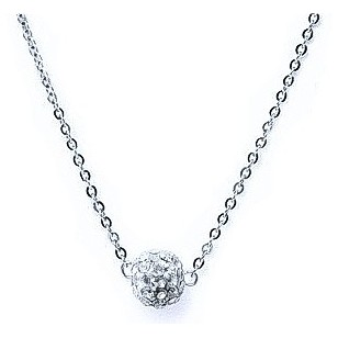 HerSpirit ladies silver coated necklace with transparent stones ferido ball