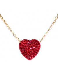 HerSpirit ladies gold coated necklace with red colored ferido heart
