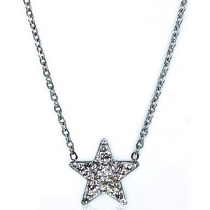 HerSpirit ladies silver coated necklace with transparent stones ferido star