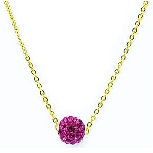 HerSpirit ladies gold coated necklace with fuchsia colored ferido ball