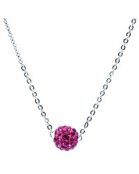 HerSpirit ladies silver coated necklace with fuchsia colored ferido ball