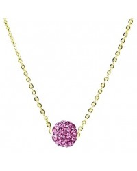 HerSpirit ladies gold coated necklace with pink colored ferido ball