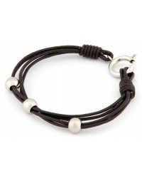 HerSpirit ladies leather bracelet with stainless steel beads