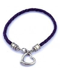 HerSpirit ladies leather bracelet with stainless steel heart pendant