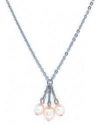 HerSpirit ladies stainless steel necklace with freshwater pearls