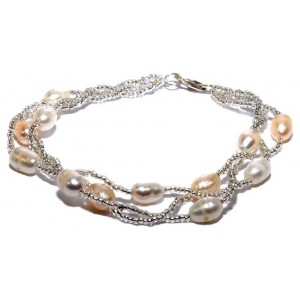 WOW ladies fashion peach freshwater pearl bracelet