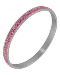 HerSpirit ladies stainless steel pink cubic zirconia stones bangle