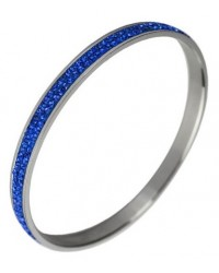 HerSpirit ladies stainless steel and sapphire blue cubic zirconia stones bangle