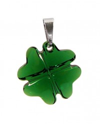 Ladies sterling silver pendant with Swarovski rhinestone Clover Dark Moss Green