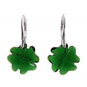 Ladies sterling silver earrings with Swarovski rhinestone Clover Crystal Dark Moss Green