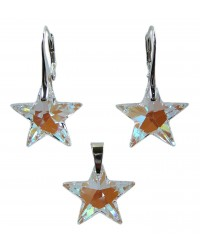 Ladies sterling silver jewelry set with Swarovski rhinestones stars Crystal Blue AB