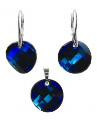 Ladies sterling silver jewelry set with Swarovski rhinestones Twist Crystal Bermuda Blue