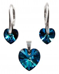 Ladies sterling silver jewelry set with Swarovski rhinestones Xilion hearts Crystal Bermuda Blue