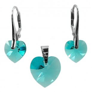 Ladies sterling silver jewelry set with Swarovski rhinestones Xilion hearts Crystal Light Turquoise