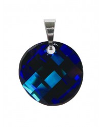 Ladies sterling silver pendant with Swarovski rhinestone Twist Crystal Bermuda Blue