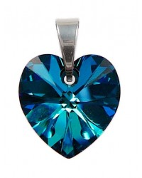 Ladies sterling silver pendant with Swarovski rhinestone Xilion heart Crystal Bermuda Blue