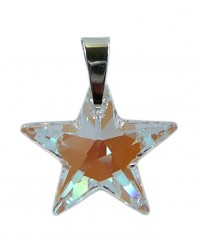 Ladies sterling silver pendant with Swarovski rhinestone star Crystal Blue AB