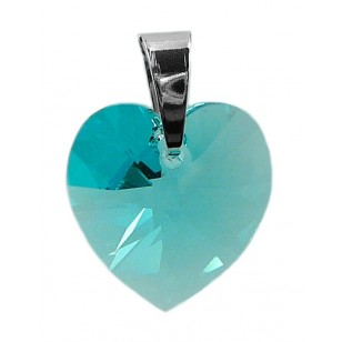 Ladies sterling silver pendant with Swarovski rhinestone Xilion heart Crystal Light Turquoise
