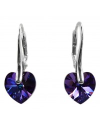 Ladies sterling silver earrings with Swarovski rhinestone Xilion Heart Crystal Helio