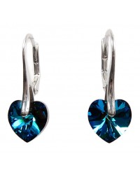 Ladies sterling silver earrings with Swarovski rhinestone Xilion heart Crystal Bermuda Blue