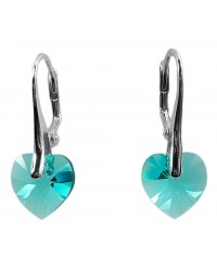 Ladies sterling silver earrings with Swarovski rhinestone Xilion heart Crystal Light Turquoise