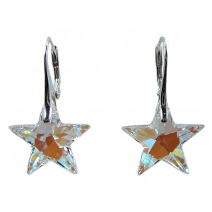 Ladies sterling silver earrings with Swarovski rhinestone star Crystal Blue AB