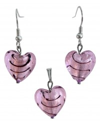 Ladies silver coated jewelry set with Venetian Murano glass hearts