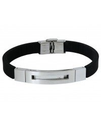 Mens InSpirit rubber and stainless steel bracelet