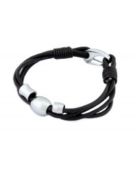 Mens InSpirit leather bracelet with stainless steel beads