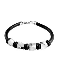 Mens InSpirit leather bracelet with steel beads