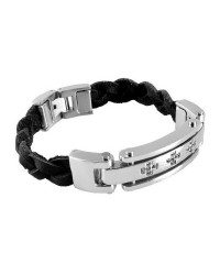 Mens InSpirit leather and stainless steel bracelet